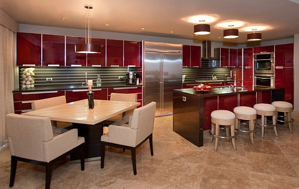 kitchen with red glass cabinetry