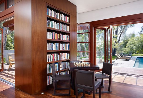 Library design with built-in shelves