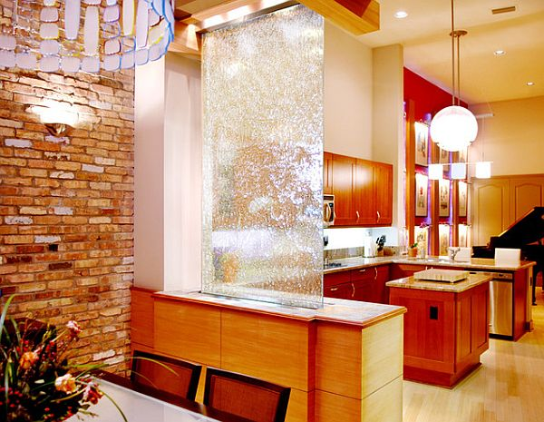 Cool waterfall as room divider in the living room