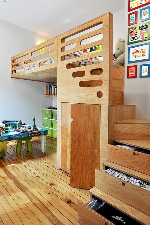 Loft bedroom for kids with  discrete lighting