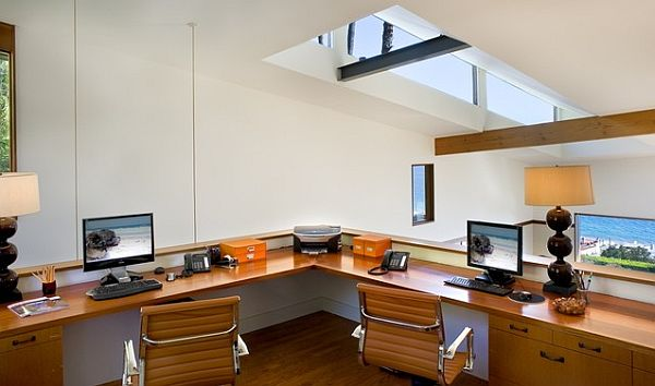 Loft home office desk design
