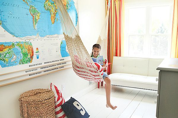 Loft kids bedroom decor with hammock