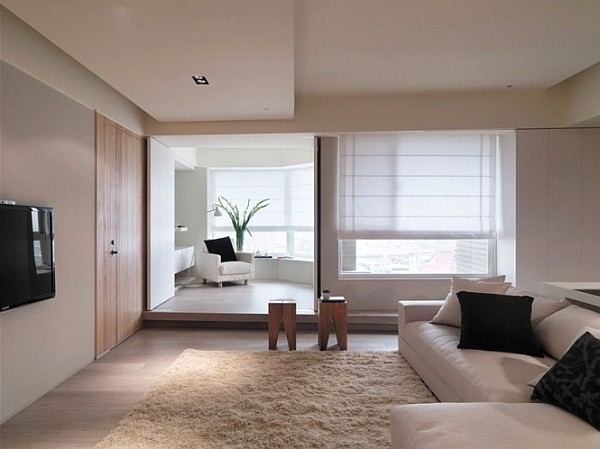 Sophisticated Asian Apartment With Neutral Colors And Minimalist Furniture
