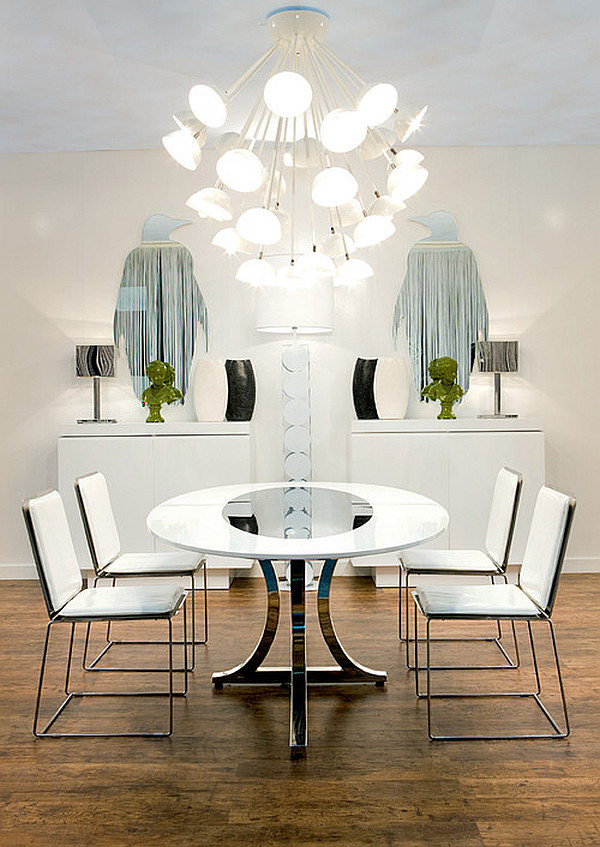 modern art deco dining room with round table and white chairs miami