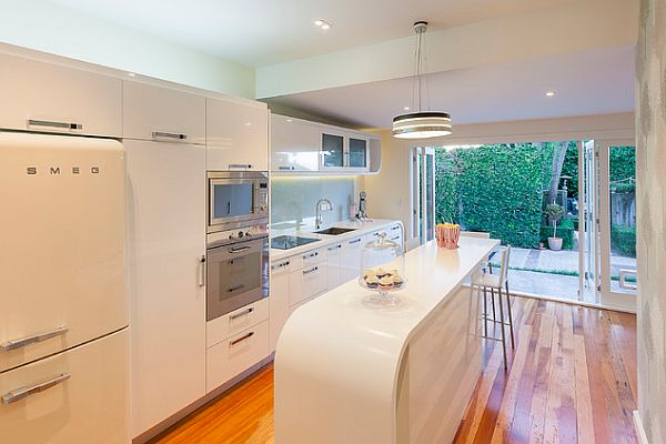 Modern art deco kitchen with white furniture