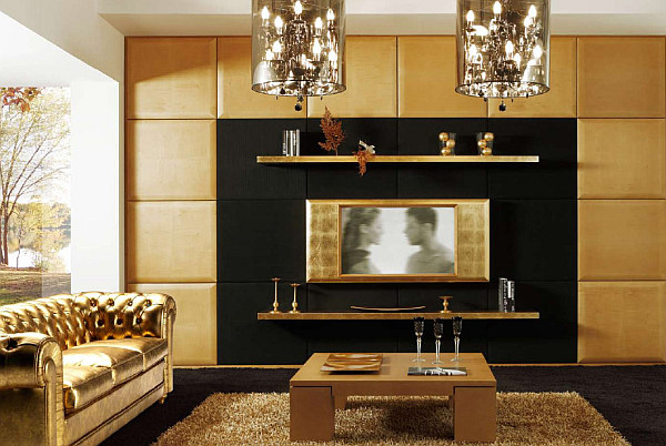 Art deco living room with a golden theme