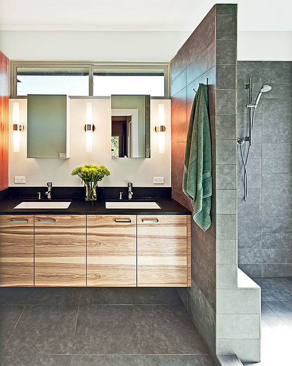 Modern bathroom with stylish lighting