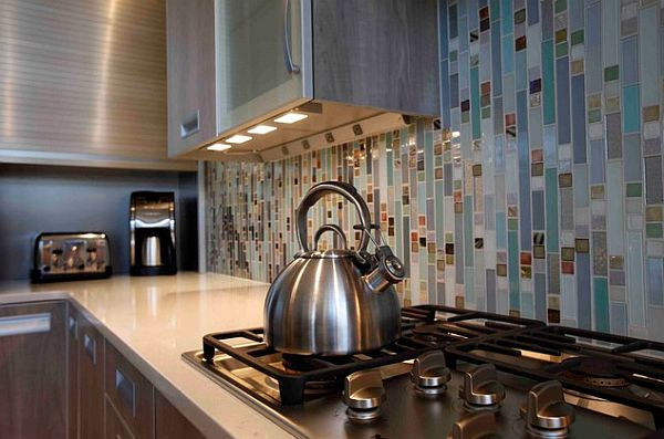 Modern kitchen cabinets with recessed lighting
