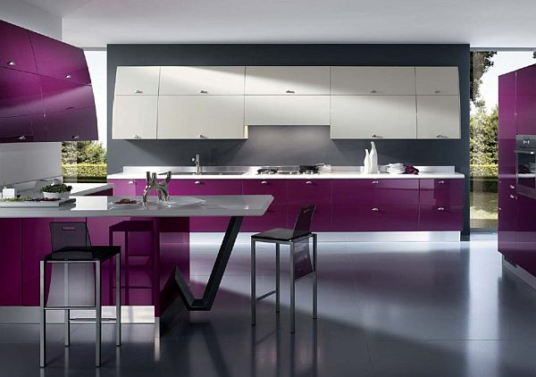 Modern kitchen design in purple
