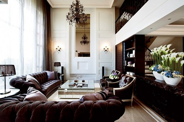 modern living room with mirrorer coffee table Extravagant Home Design Crafted with Refined Taste