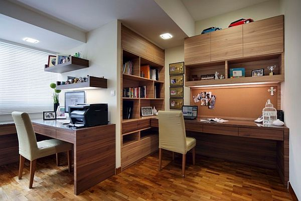 Modern office with built-in bookshelves