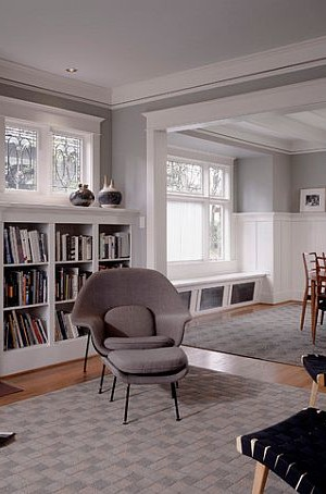 Modern reading room with built-in shelves