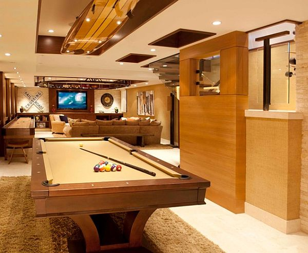 modern rec room with billiards table