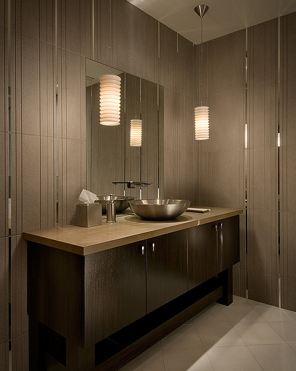 Modern tiled bathroom with stylish pendant lamps