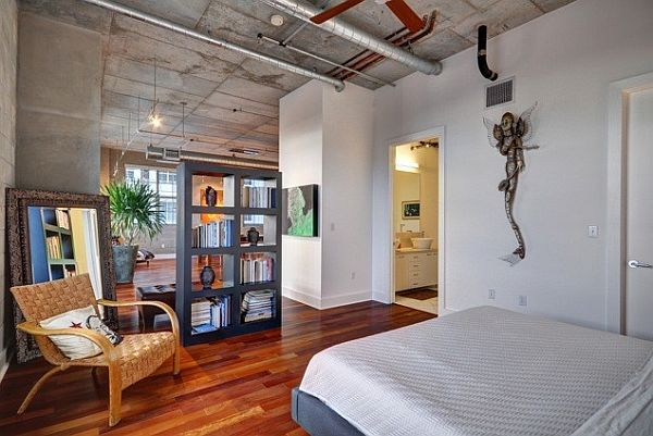 View in gallery Natural colors for an industrial loft bedroom design