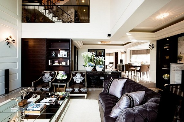 open space living room with staircase view