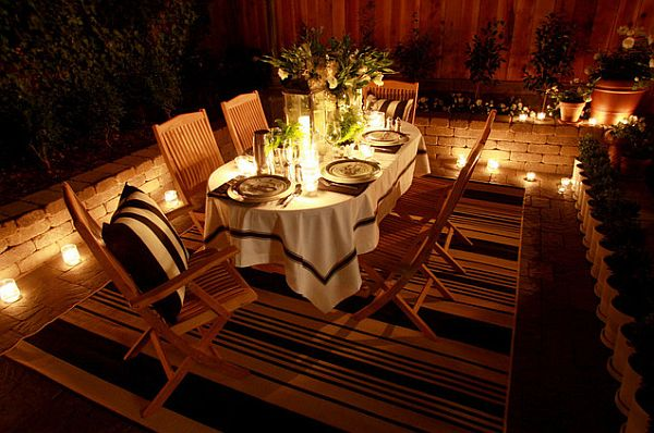 outdoor dining room party setup