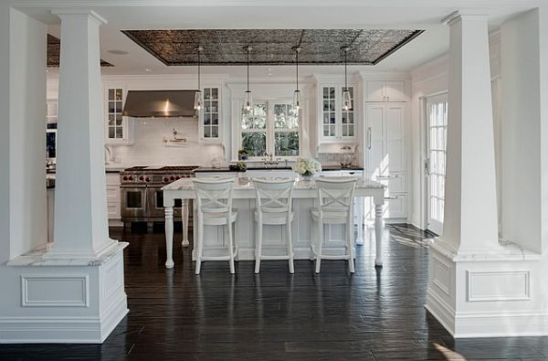 Pressed tin ceiling in the kitchen