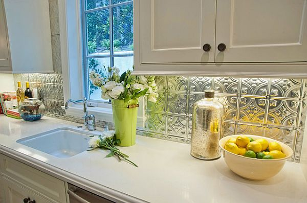 pressed tin kitchen backsplash Adding Pressed Tin Into Your Home Decor