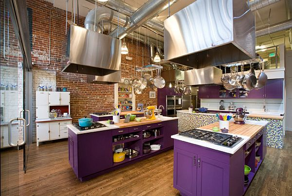 Purple kitchen islands add style to any cooking place
