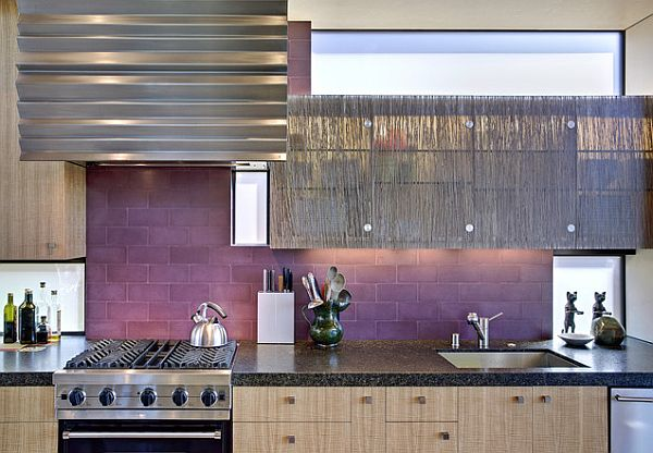 View in gallery Purple kitchen tiles for a modern look
