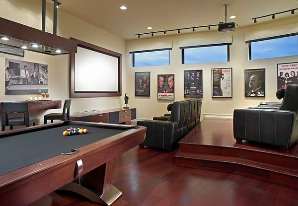 Rec room design with pool table and home theater