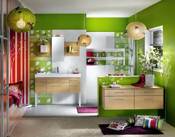 How to decorate your home with color pairs for Bathroom decor green walls