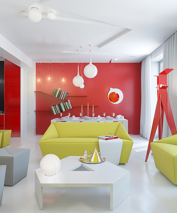 Modern living room with red walls and green couches