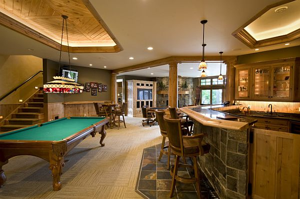 Rustic, yet elegant basement as rec room