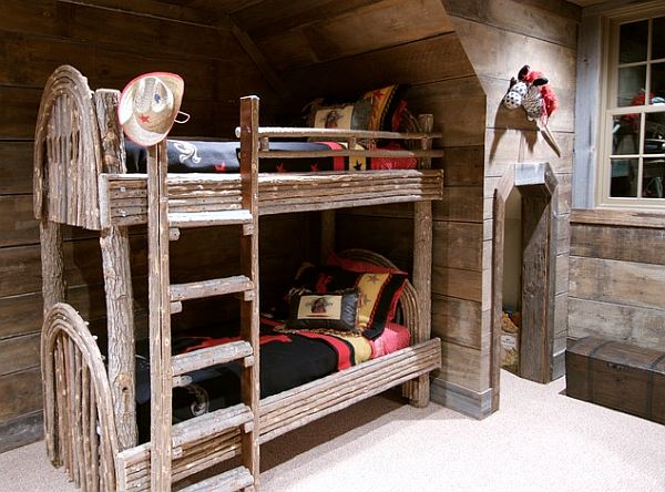 Inspiring rustic bedroom ideas to decorate with style for Log cabin style bunk beds