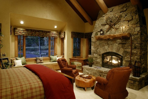 rustic fireplace bedroom