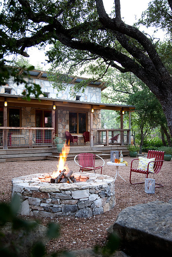 rustic lake house with backyard firepit