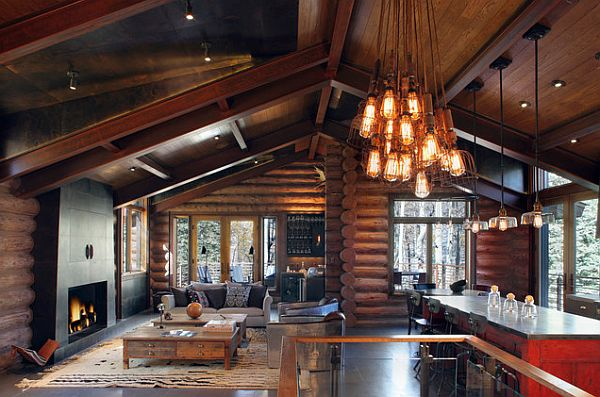 Rustic lighting fixtures for a cabin