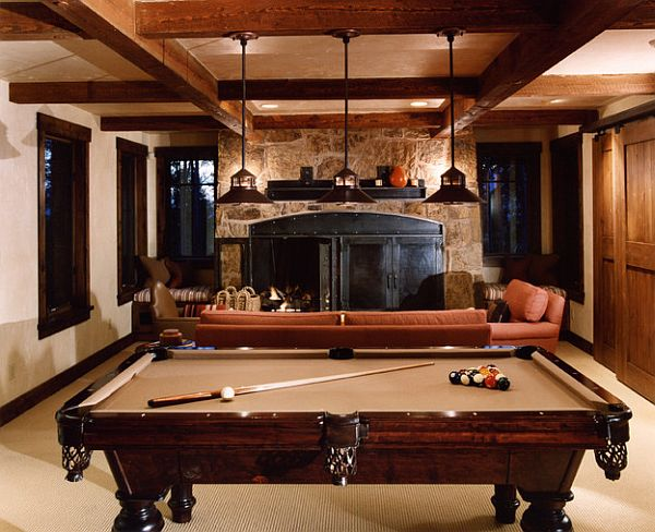 Rustic rec room with pool table