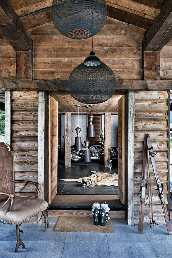 rustic wooden furnishings Rustic One Oak Chalet in the French Alps Charms With Its Touch of Modernity
