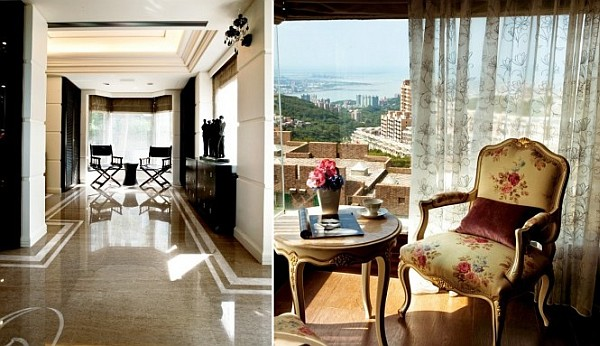 shining floors and city view