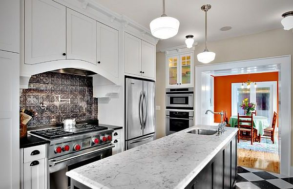 Silver colored pressed tin for kitchen backsplash