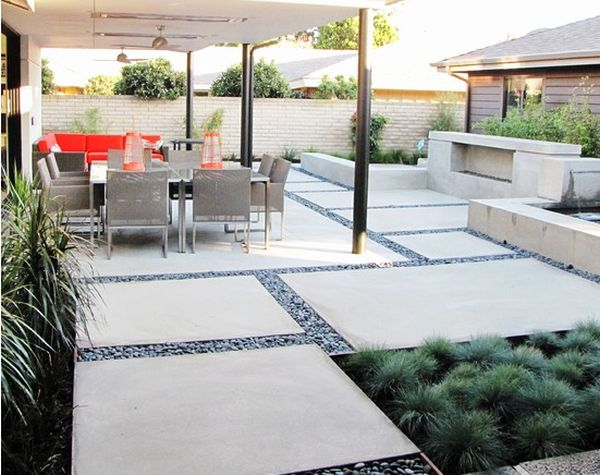 Superior Large Concrete Slab And Pebble Patio Design
