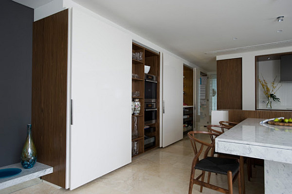 sliding kitchen doors interior small space solutions hidden kitchen from minosa design 7639
