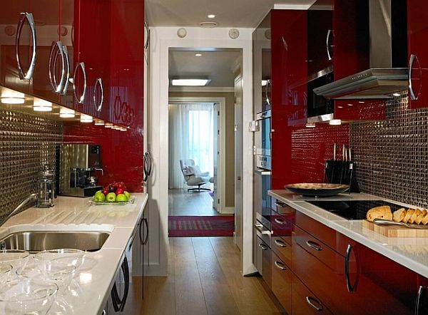 Small kitchen renovation with bold red color scheme