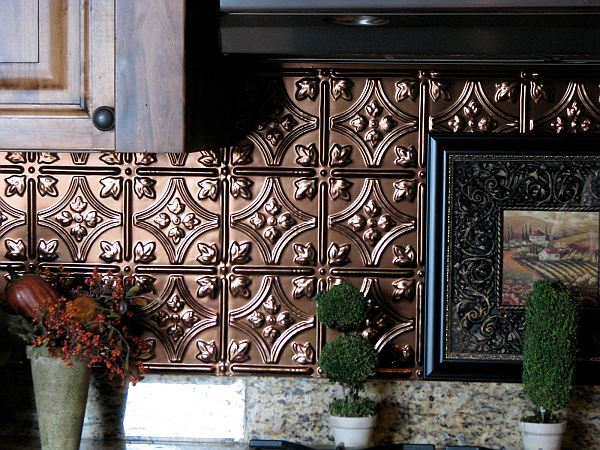 Stylish kitchen backsplash with pressed tin