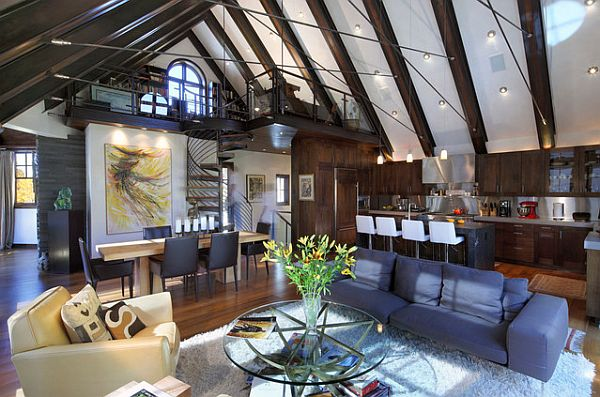 Stylish loft with beautiful hard wood flooring