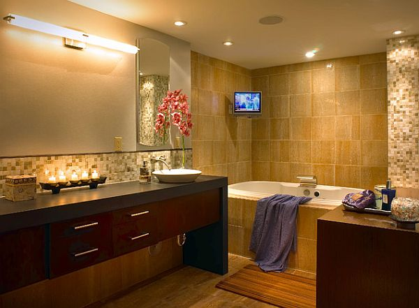 12 beautiful bathroom lighting ideas for Can you put a tv in the bathroom