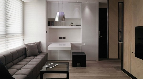 tiny apartment living room Small Apartment Design Overcomes Space Problems & Clutter in Style