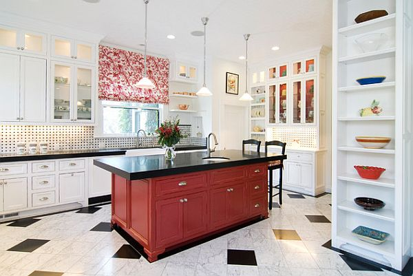 Traditional dark red kitchen island