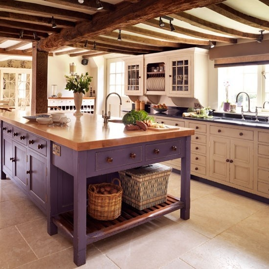 Traditional kitchen island in purple