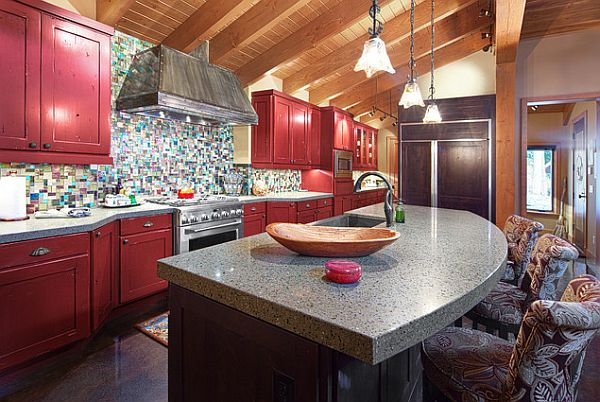 Traditional kitchen with dark red cabinets
