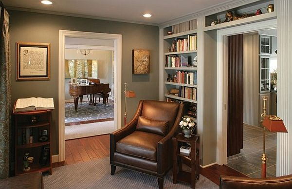 traditional library design with built-in bookshelves