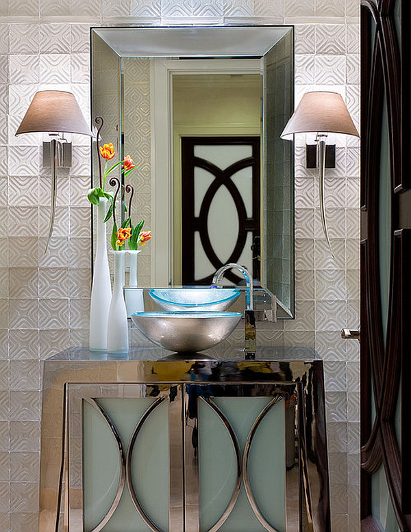 View In Gallery Ultra Chic Art Deco Bathroom Design