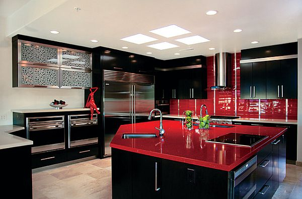 view in gallery ultra glossy red kitchen counter - Red Kitchen Ideas
